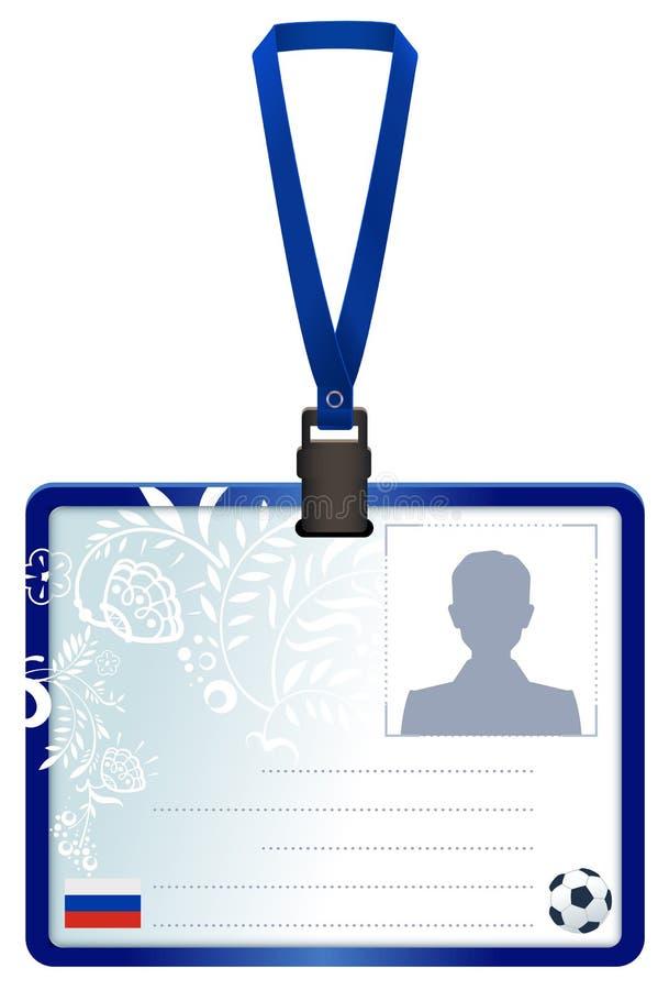 Permita la tarjeta de la identificación para la rueda de prensa rusa del fútbol ilustración del vector