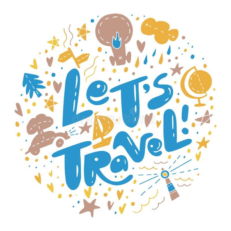 Permite a citação de inscrição de Viagem com símbolos de viagem ilustração royalty free