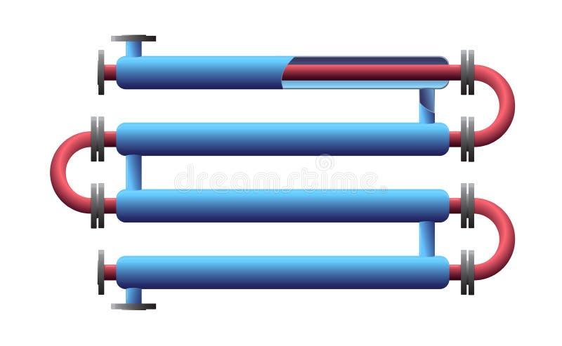 Permutador de calor cortado da tubulação dobro Instrumento para o processamento do produto químico Tubulação-em-tubulação, tubo n ilustração do vetor