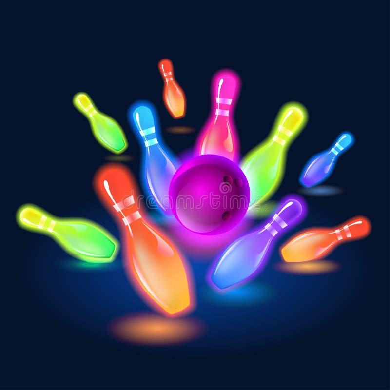 Perni d'ardore al neon di bowling Illustrazione di clipart di vettore royalty illustrazione gratis