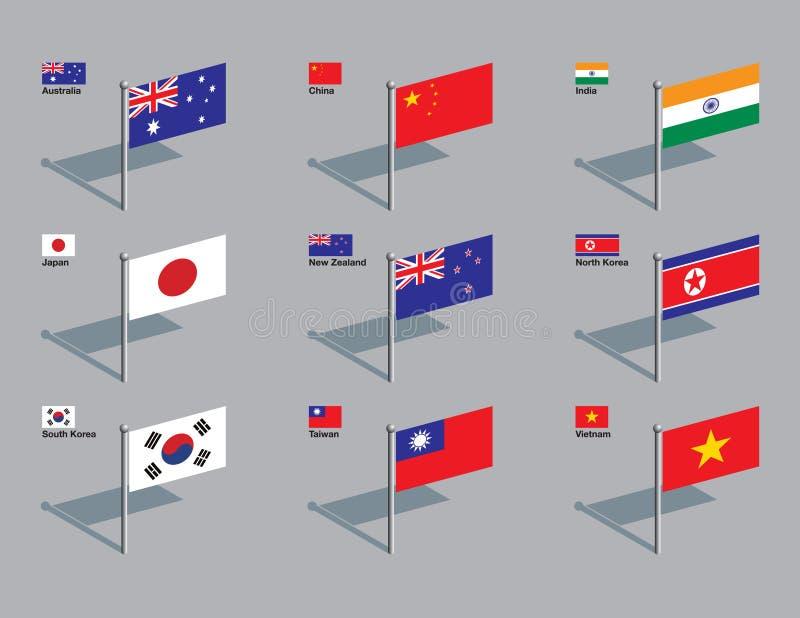 Perni della bandierina - Asia, pacifica illustrazione di stock