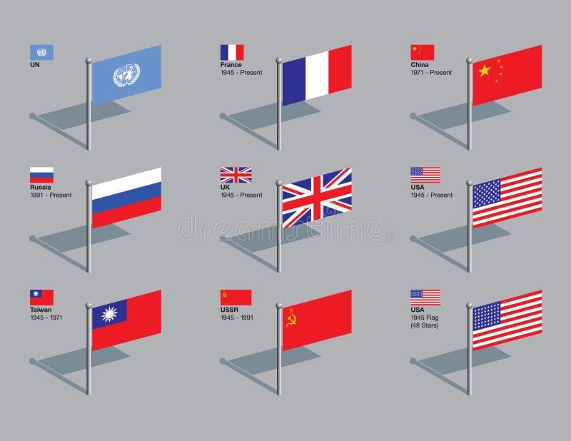 Perni della bandierina, Consiglio di obbligazione di ONU fotografia stock