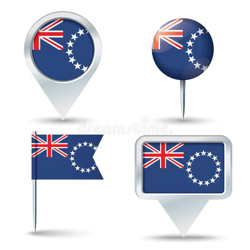 Perni della mappa con la bandiera del cuoco Islands illustrazione di stock