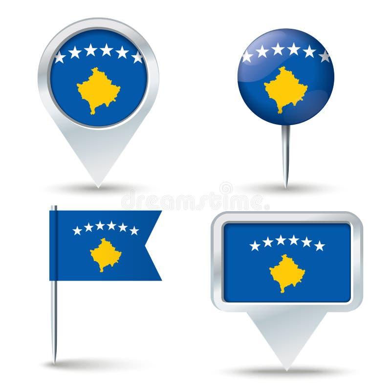 Perni della mappa con la bandiera del Kosovo illustrazione vettoriale