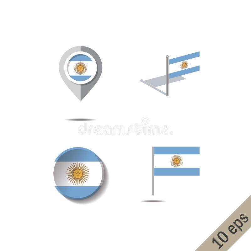 Perni della mappa con la bandiera dell'Argentina illustrazione vettoriale