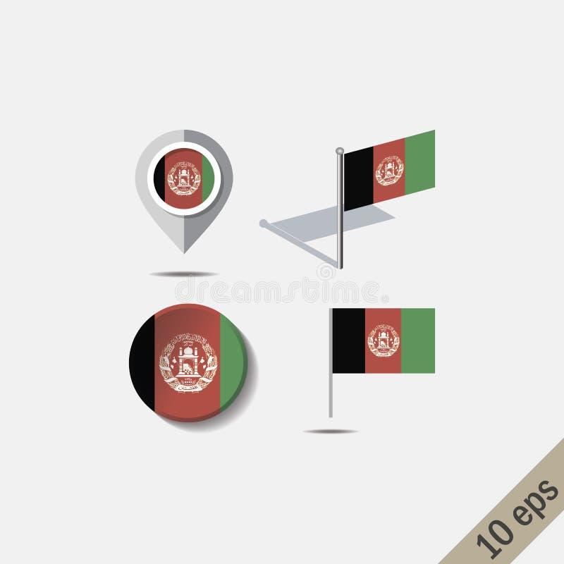 Perni della mappa con la bandiera di AFGANISTAN royalty illustrazione gratis