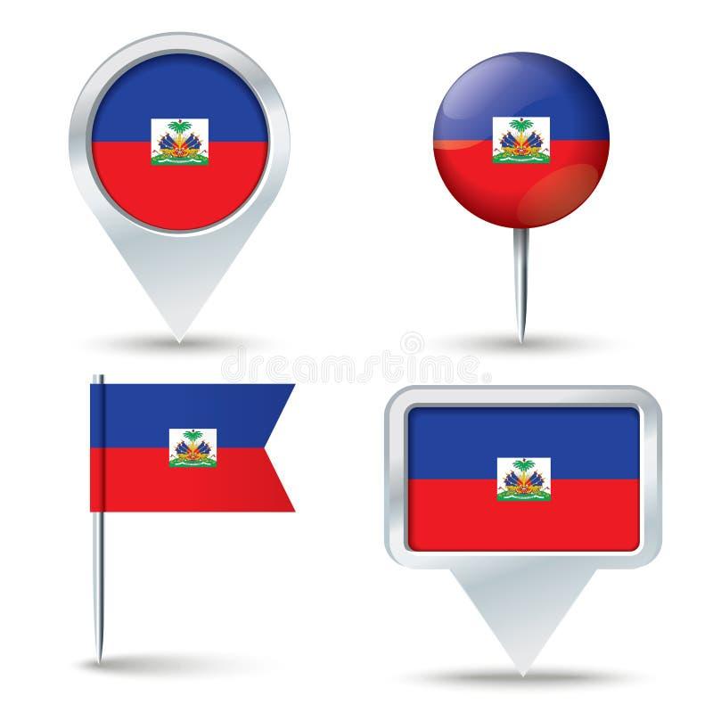 Perni della mappa con la bandiera di Haiti royalty illustrazione gratis
