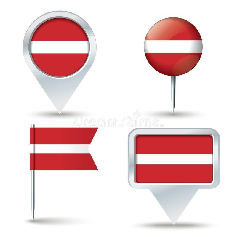 Perni della mappa con la bandiera della LETTONIA illustrazione di stock