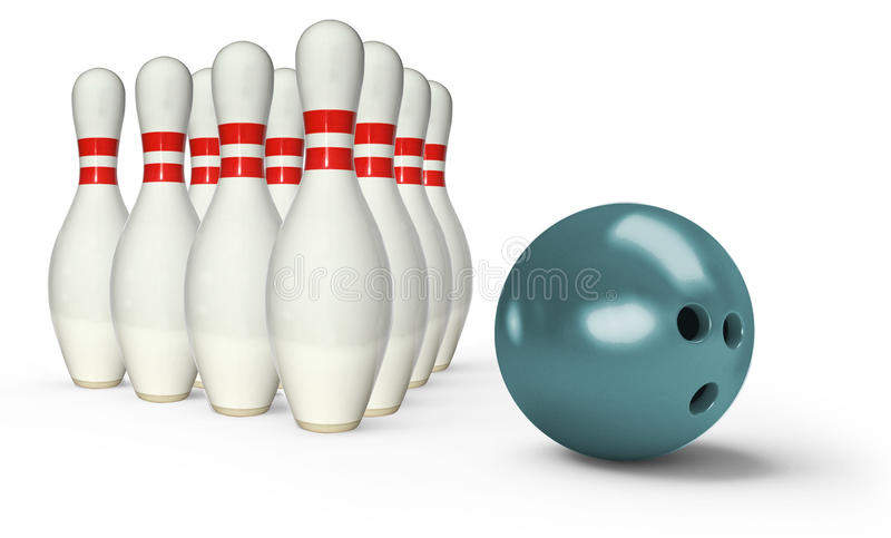 Perni di bowling con la palla fotografie stock libere da diritti