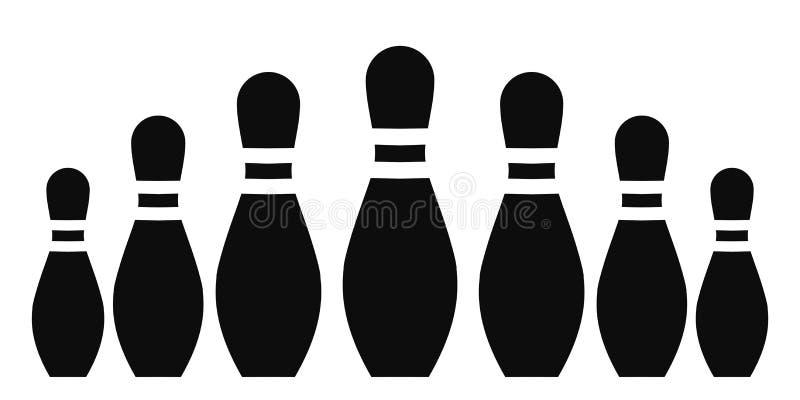 Perni di bowling del gruppo, ciotole lancianti - per le azione illustrazione vettoriale