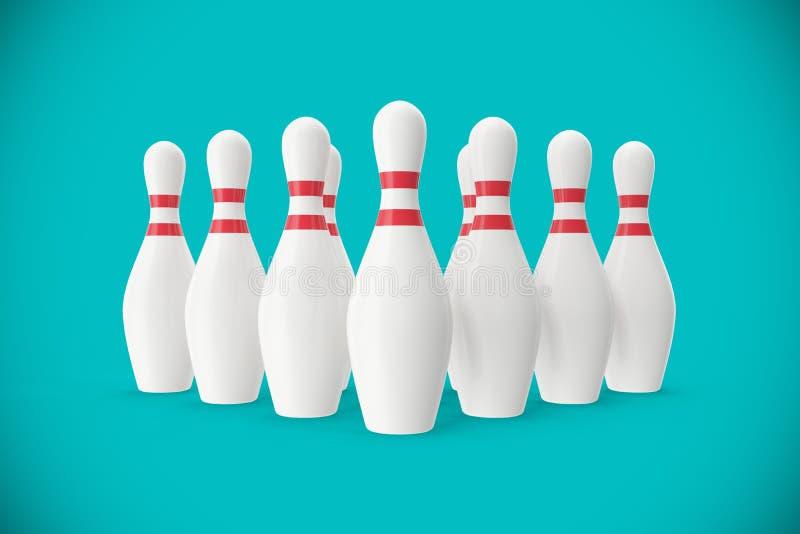 Perni di bowling sul fondo del turchese illustrazione 3D illustrazione vettoriale