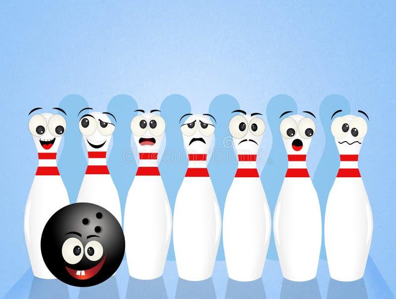 Perni di bowling svegli illustrazione vettoriale