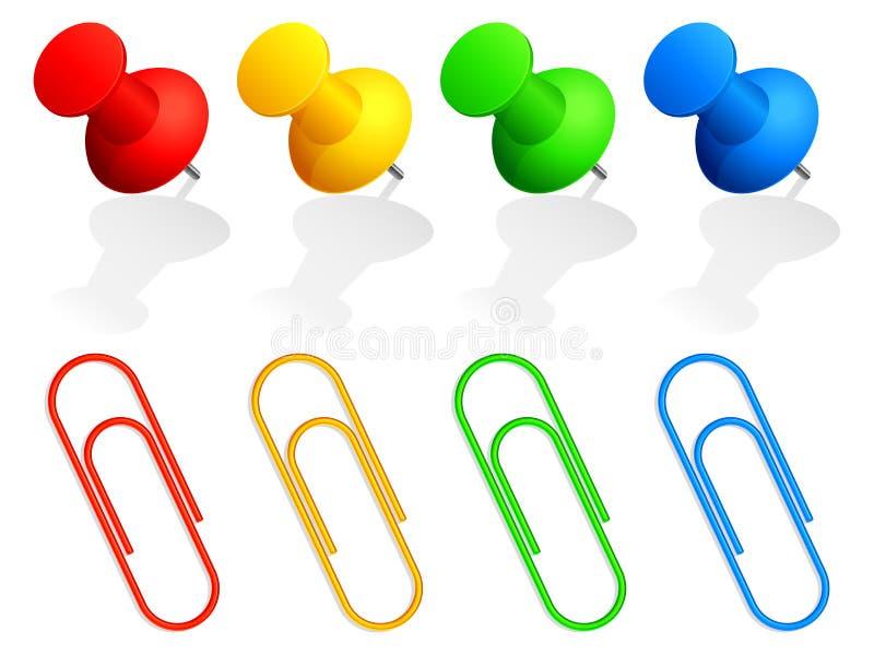 Perni e clip di carta. illustrazione di stock