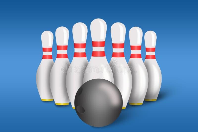 Perni e sfera di bowling con il bowling illustrazione vettoriale