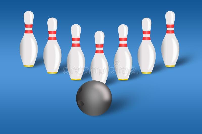 Perni e sfera di bowling per il bowling royalty illustrazione gratis