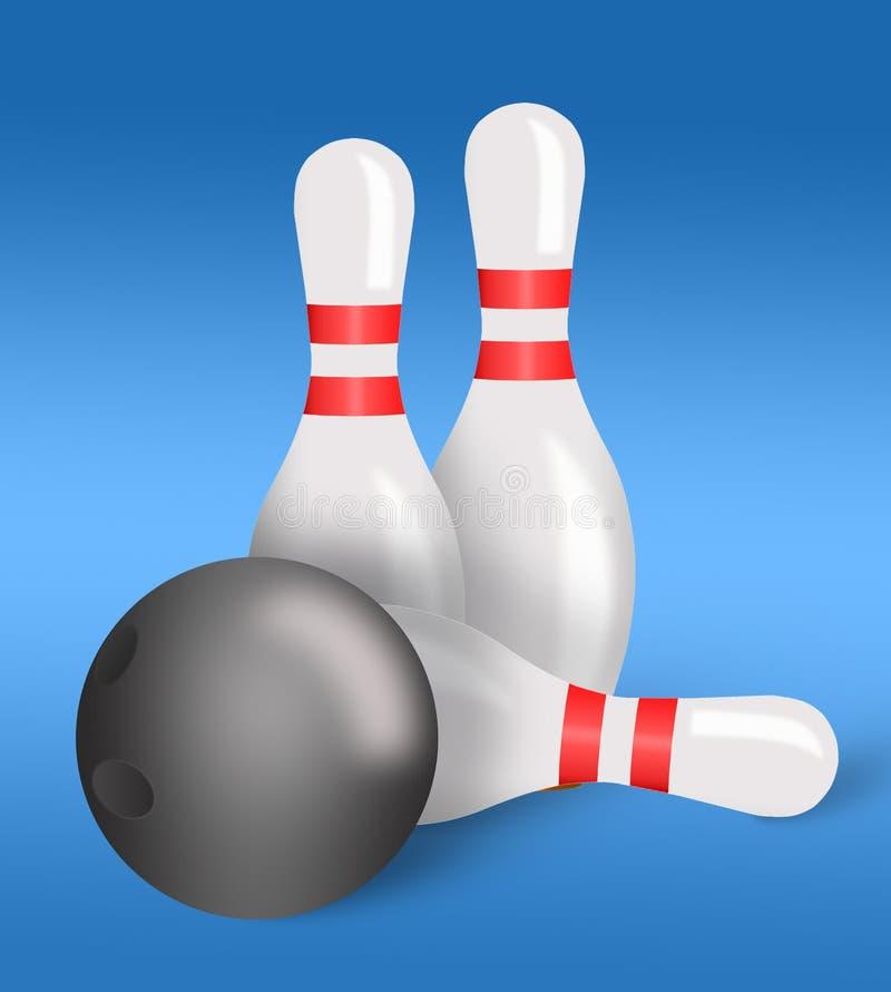 Perni e sfera di bowling per il bowling illustrazione vettoriale