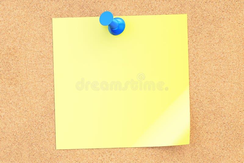 Perno blu di spinta con la nota appiccicosa gialla in bianco, rappresentazione 3D illustrazione vettoriale