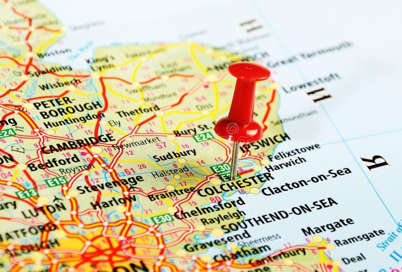 Perno BRITANNICO della mappa di Colchester fotografia stock
