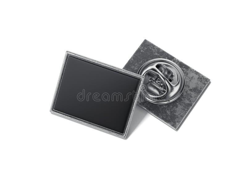 Perno cuadrado de la solapa con la cara en blanco negra representación 3d stock de ilustración