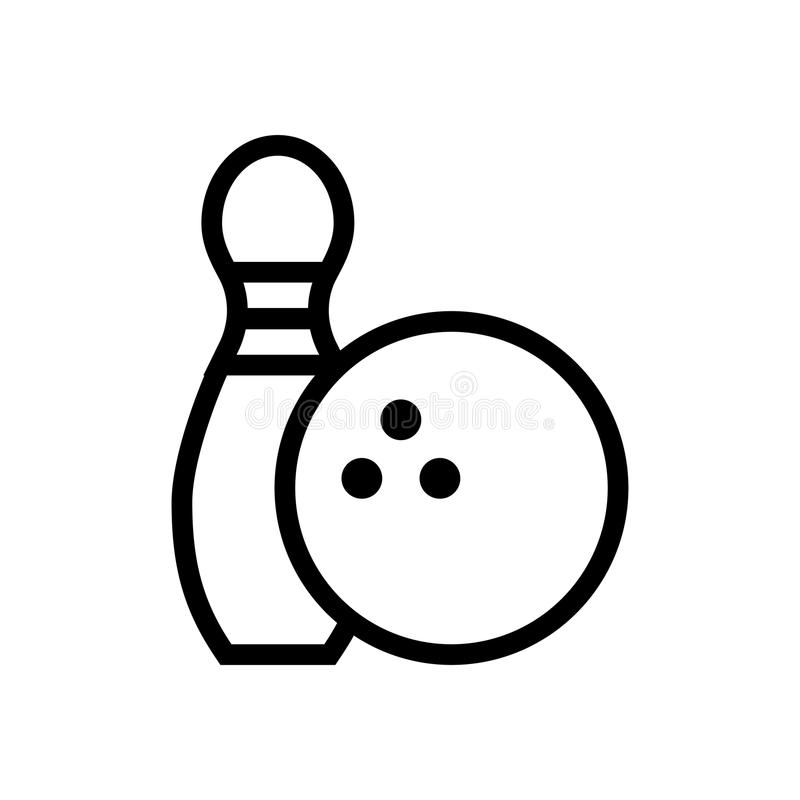 Perno de bolos e icono de la bola ilustración del vector