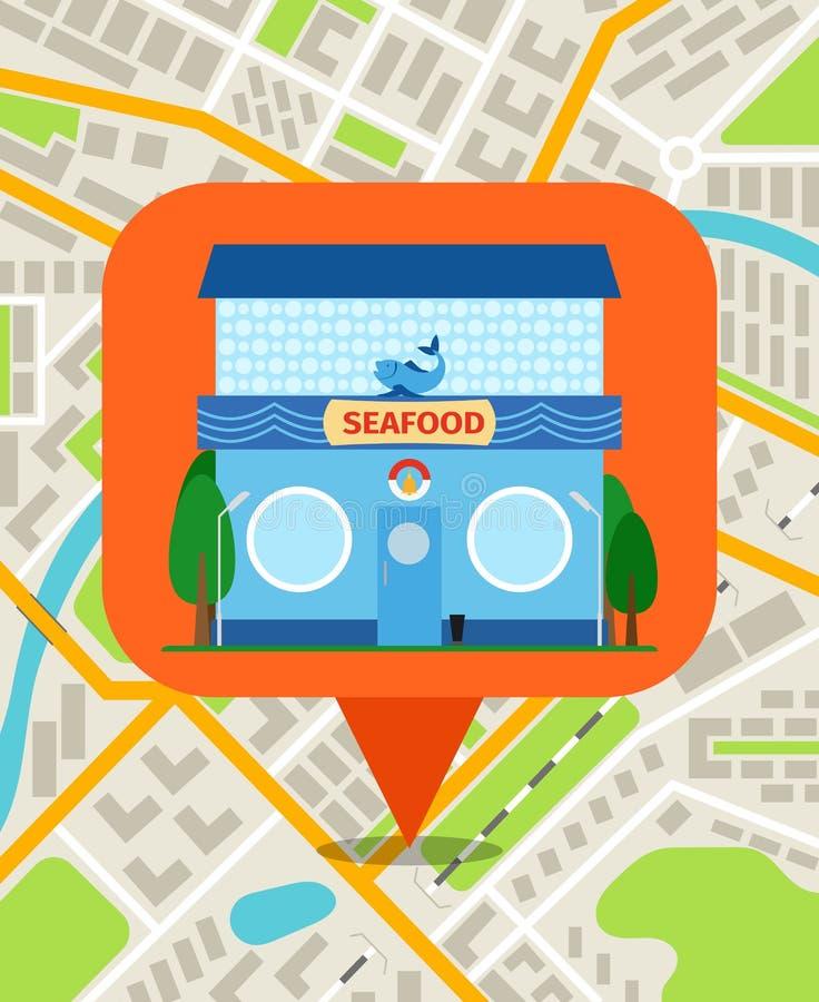 Perno de la tienda de los mariscos en mapa ilustración del vector
