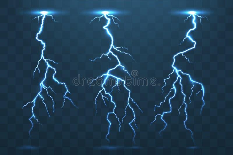 Perno de trueno y relámpagos, flash de la electricidad de la tempestad de truenos Ele ilustración del vector