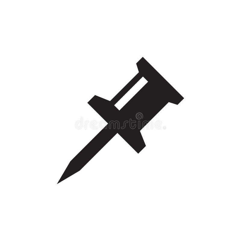 Perno del empuje - icono negro en el ejemplo blanco del vector del fondo para la página web, aplicación móvil, presentación, info ilustración del vector