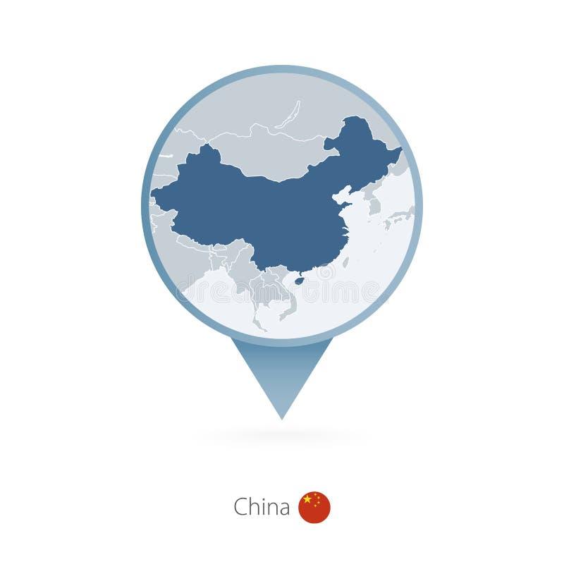 Perno del mapa con el mapa detallado de China y de países vecinos ilustración del vector