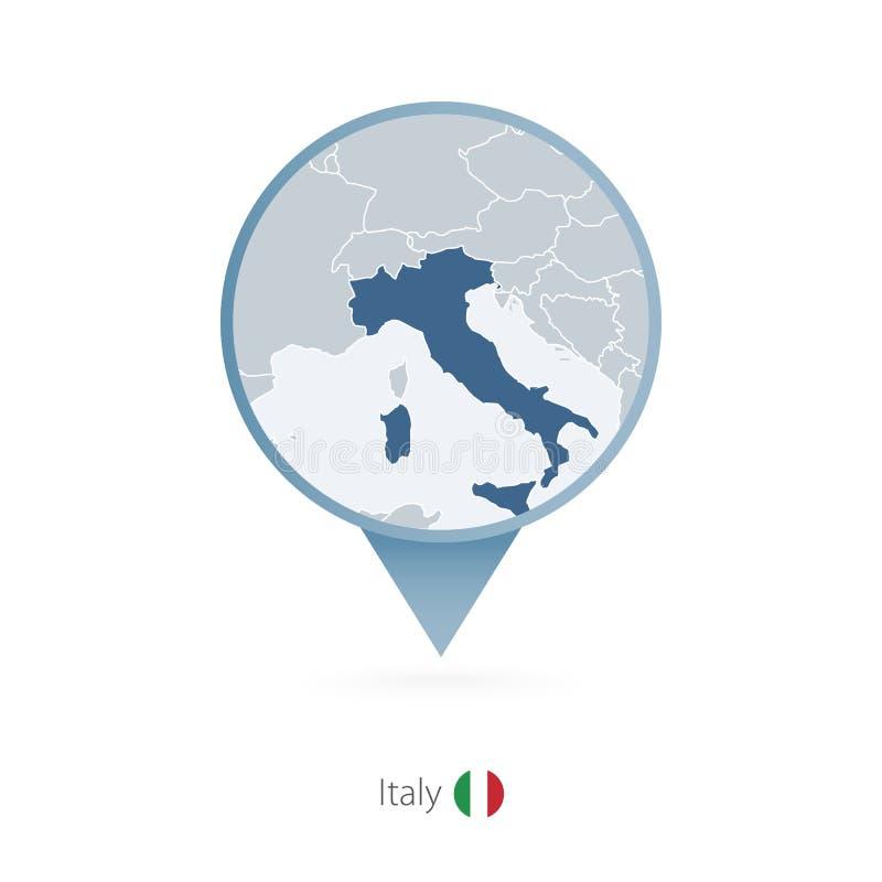 Perno del mapa con el mapa detallado de Italia y de países vecinos ilustración del vector