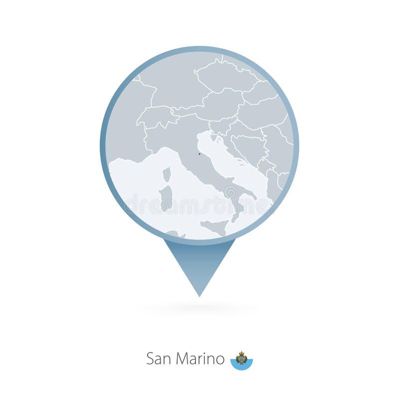 Perno del mapa con el mapa detallado de San Marino y de países vecinos stock de ilustración