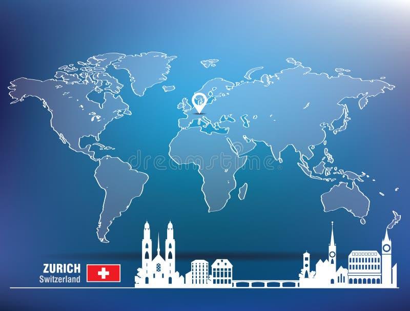 Perno del mapa con el horizonte de Zurich libre illustration