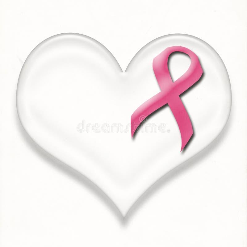Perno del nastro di rosa del cancro al seno di sostegno su cuore illustrazione di stock