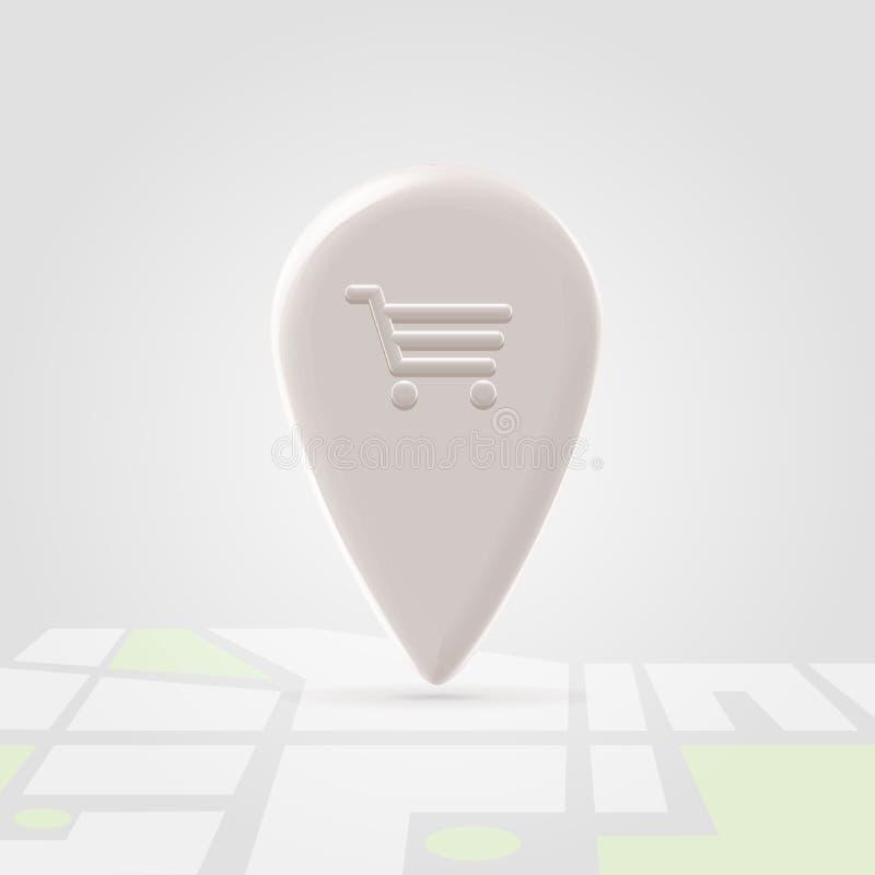 Perno del posto di acquisto sopra la mappa locale illustrazione vettoriale