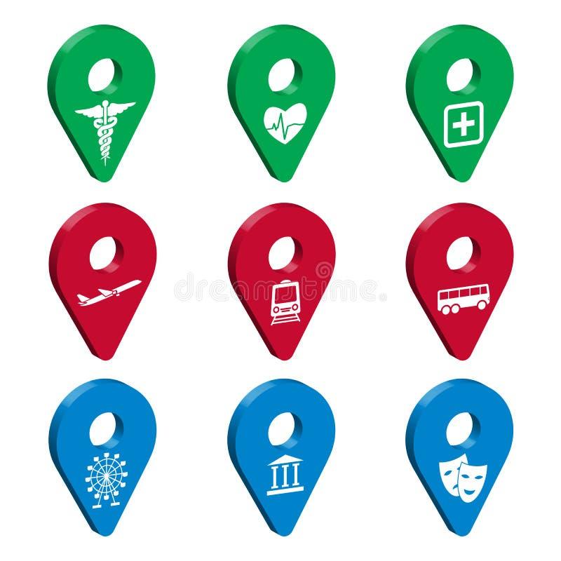 Perno del puntatore 3d della mappa per Smart City Metta dei segni di geolocation 3D con le icone Trasporto, medicina, ricreazione illustrazione vettoriale