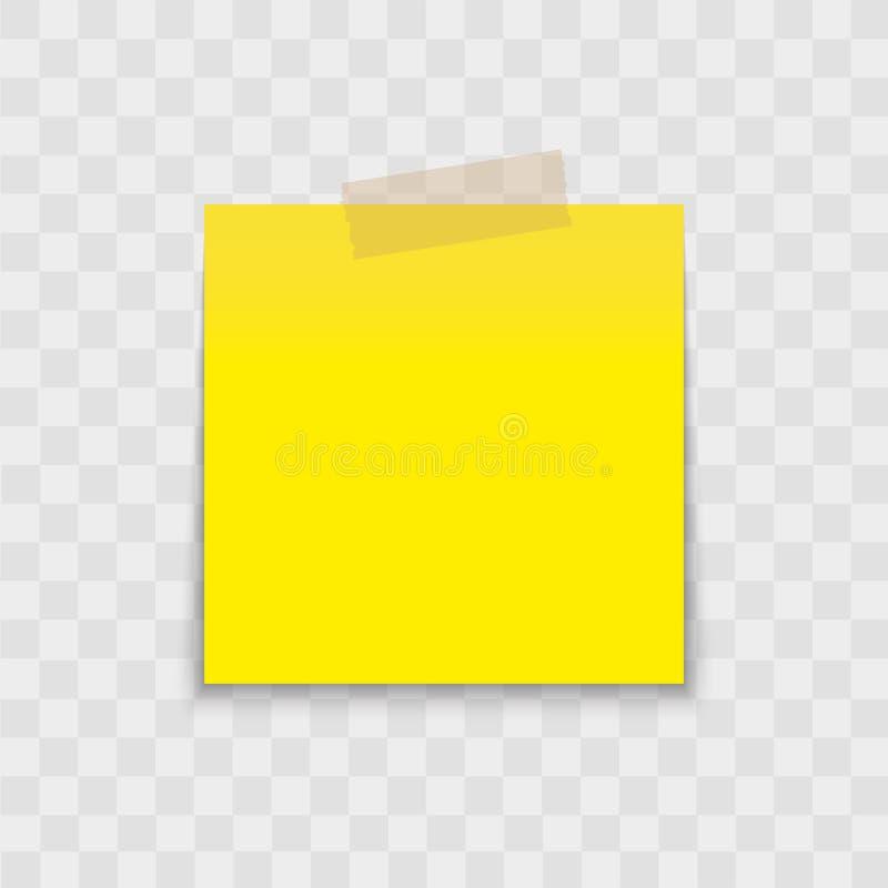 Perno dell'autoadesivo della carta di nota in calce con nastro adesivo appiccicoso su fondo trasparente Vettore fotografia stock