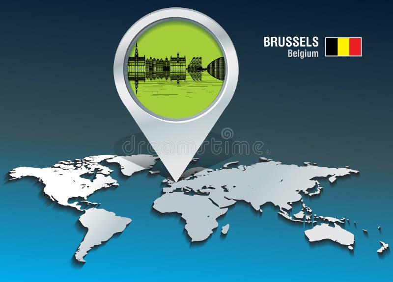Perno della mappa con l'orizzonte di Bruxelles royalty illustrazione gratis