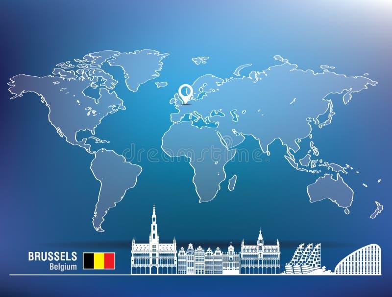 Perno della mappa con l'orizzonte di Bruxelles illustrazione di stock