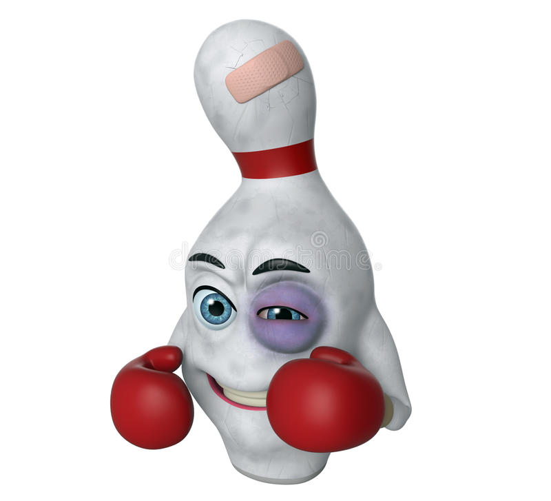 perno di bowling del fumetto 3D con l'occhio nero royalty illustrazione gratis