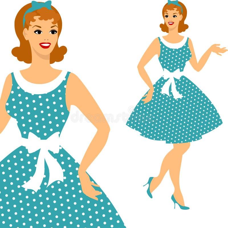 Perno hermoso encima del estilo de los años 50 de la muchacha libre illustration