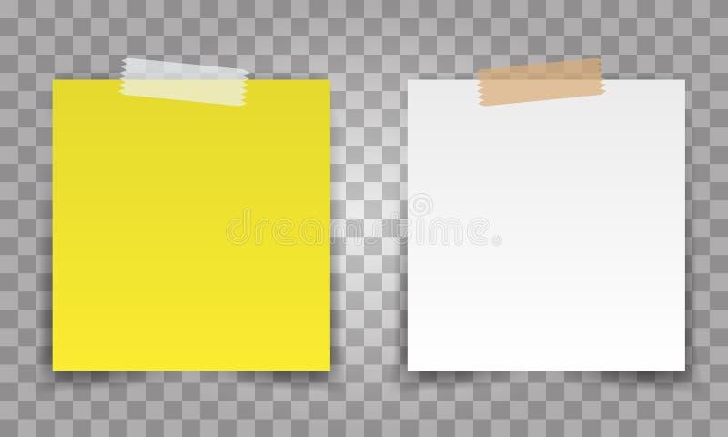 Perno realista de la hoja del papel de la oficina con la cinta transparente El blanco y el amarillo fijan el vector de la nota pa stock de ilustración