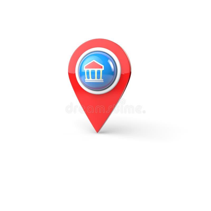perno rendido 3d del mapa con el icono del edificio de banco ilustración del vector