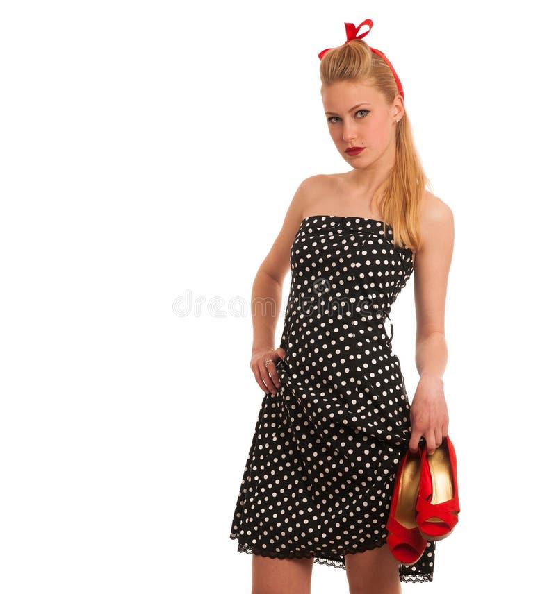 Perno retro del estilo encima de la muchacha con el pelo rubio en vestido negro con whi fotografía de archivo libre de regalías