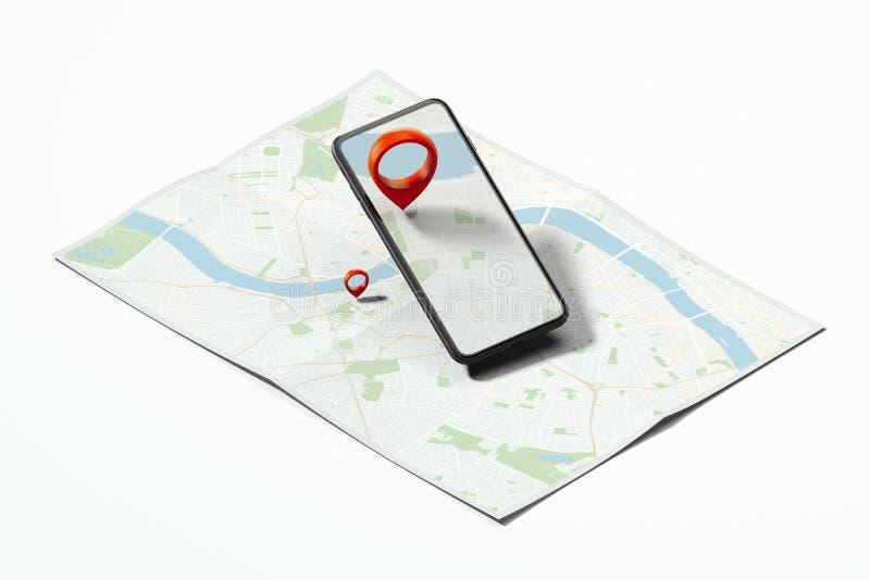 Perno rojo del geotag o del mapa en teléfono móvil en mapa realista representación 3d imágenes de archivo libres de regalías