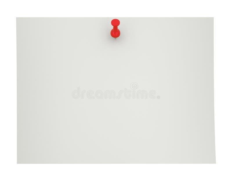 Perno rosso di spinta, puntina da disegno su carta in bianco, illustrazione 3d illustrazione di stock