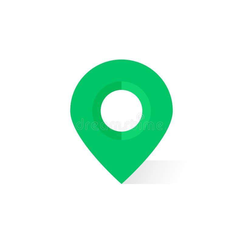 Perno verde simple del mapa con la sombra ilustración del vector