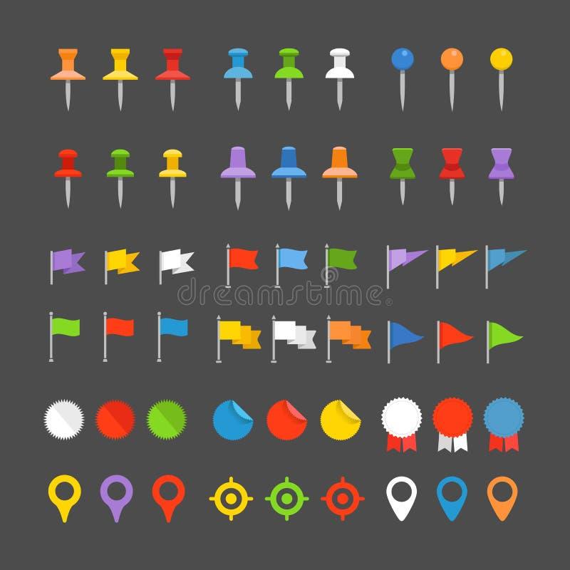 Pernos, banderas e insignias de la navegación ilustración del vector