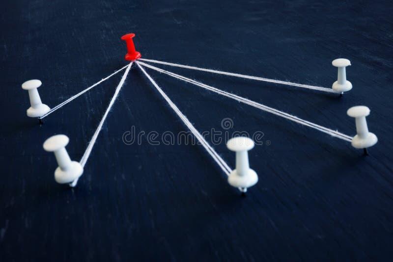 Pernos blancos del empuje y uno rojo conectados por el hilo Dirección, gestión y delegación imagen de archivo