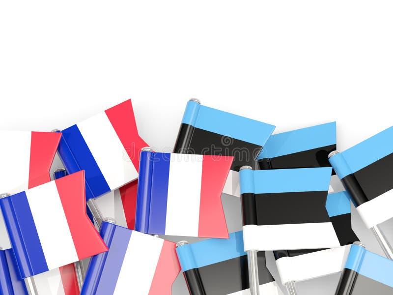 Pernos con las banderas de Francia y de Estonia aisladas en blanco ilustración del vector