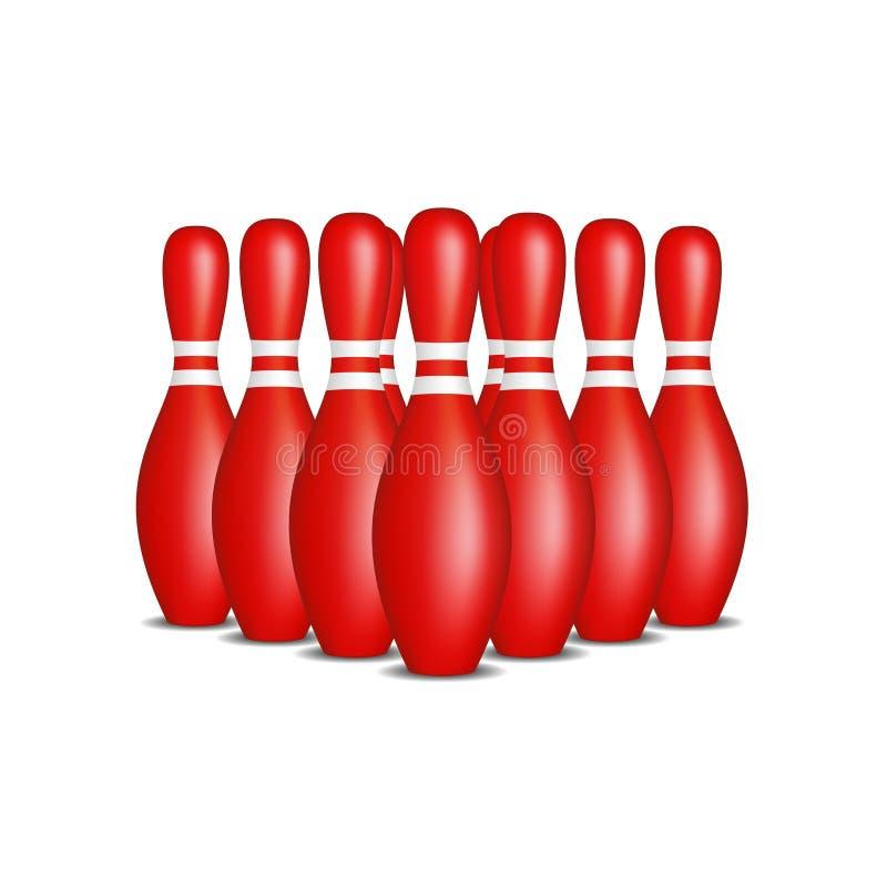 Pernos de bolos en diseño rojo con las rayas blancas que se colocan en la formación libre illustration