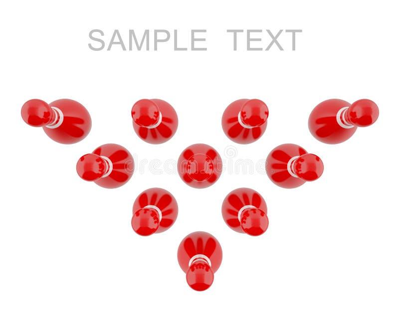 Pernos de bolos rojos con las rayas blancas stock de ilustración